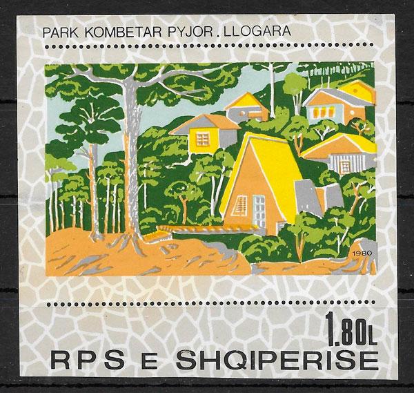 colección sellos parques naturales Albania 1980