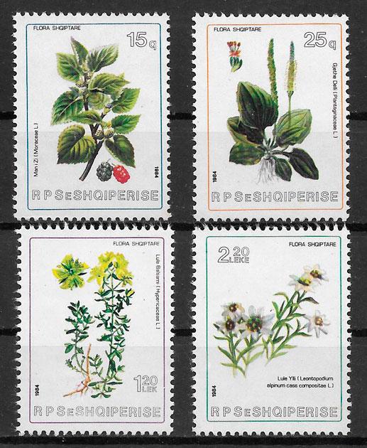 filatelia flora Albania 1984