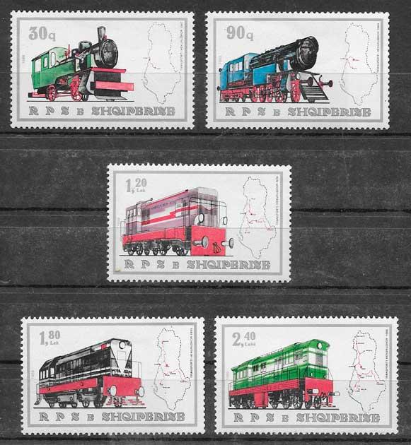 sellos trenes Albania 1989