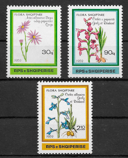 sellos flora Albania 1989
