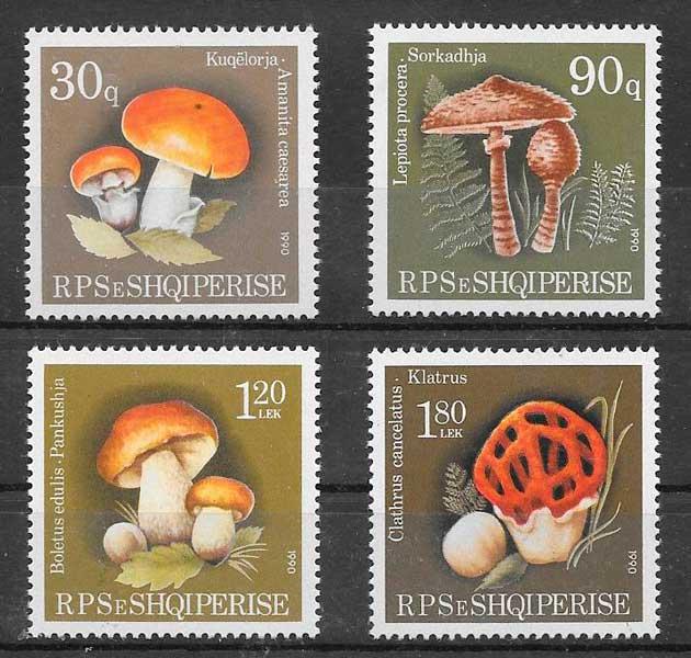 sellos setas Albania 1990