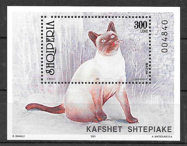 filatelia gatos y perros Albania 2001