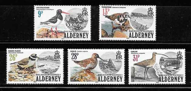 Colección sellos Fauna de Alderney 1984