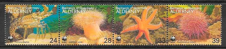 filatelia colección fauna wwf Alderney 1993