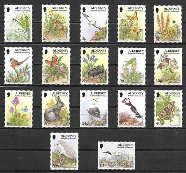 Colección sellos fauna diversa de Alderney 1994