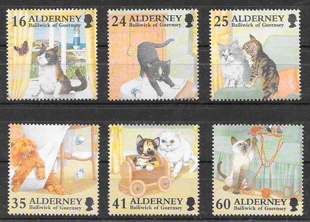 sellos gatos y peros Alderney 1996