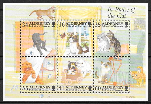 sellos gatos Aldernay 1996