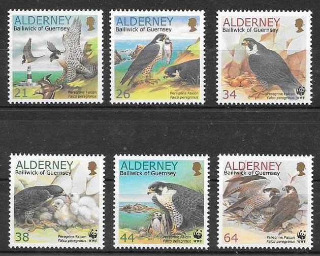 filatelia colección fauna Alderney 2000