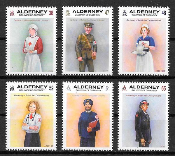 colección sellos cruz roja Alderney 2011