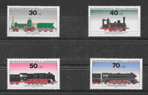 Estampillas trenes de Alemania de 1975