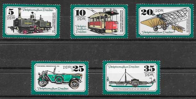 sellos trenes Alemania DDR 1977