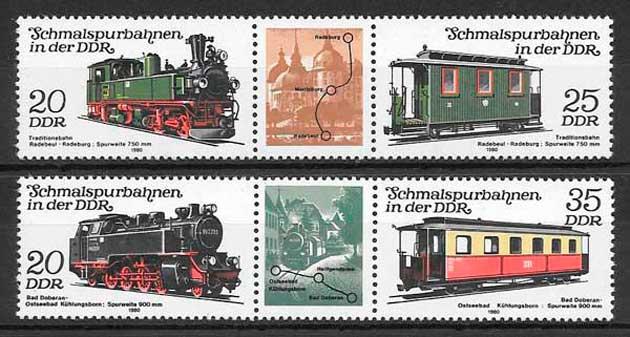 filatelia colección trenes Alemania DDR 1980