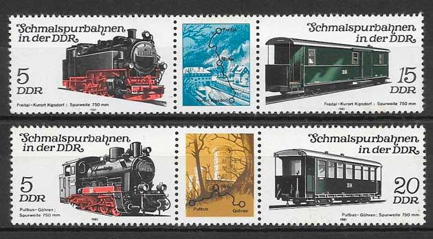 filatelia colección trenes Alemania DDR 1981
