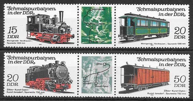 colección sellos trenes Alemania DDR 1983