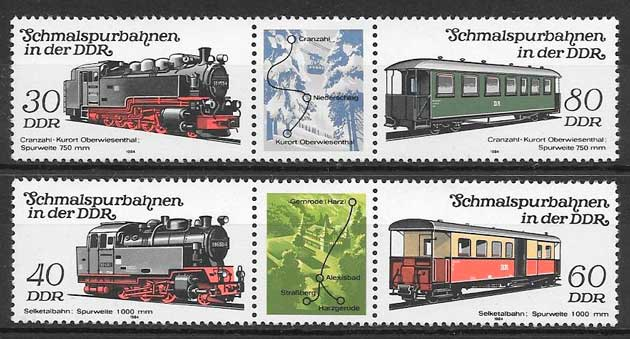 colección sellos trenes Alemania DDR 1984