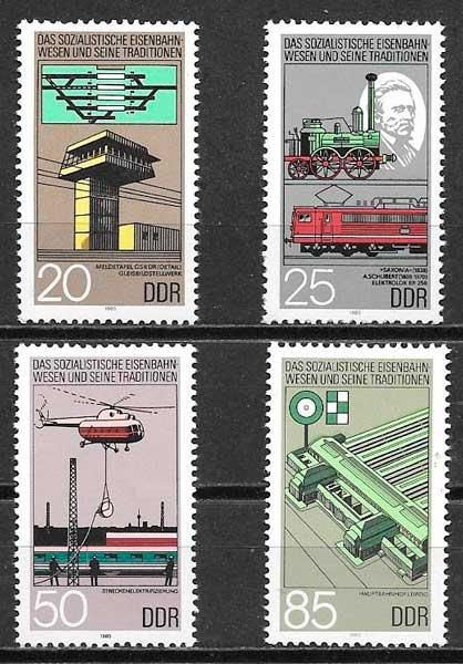colección sellos trenes Alemania DDR 1985