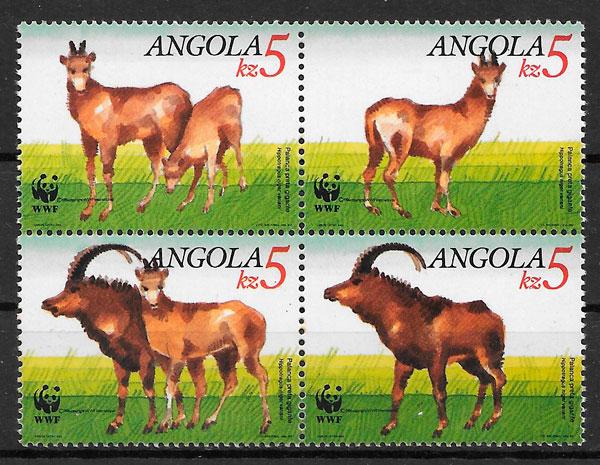 sellos fauna wwf Angola 1990