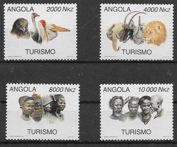sellos colección fauna Angola 1994