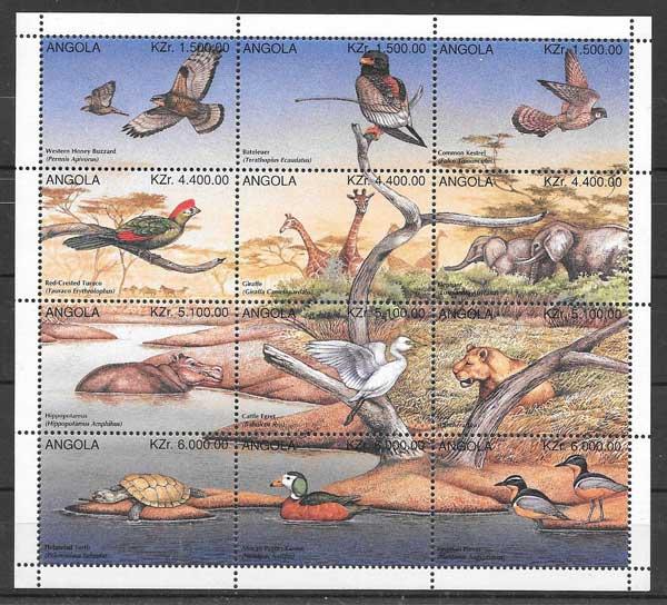 sellos fauna Angola 1996