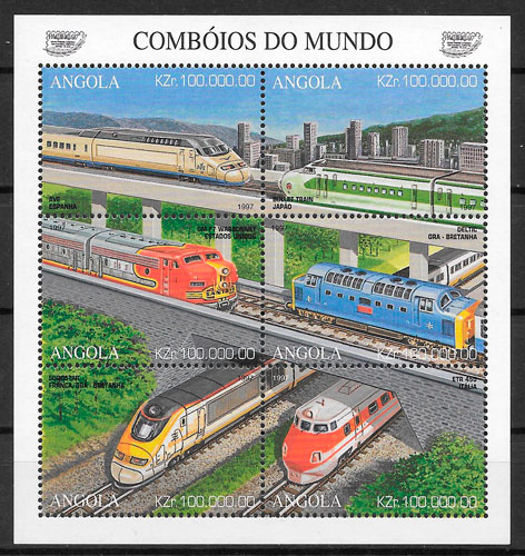 filatelia trenes Angola 1997