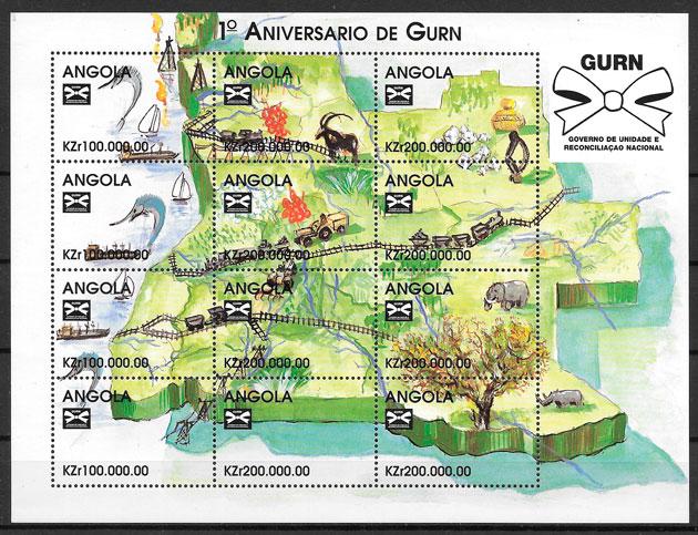 sellos trenes Angola 1998