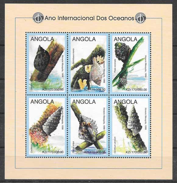 Filatelia fauna Angola 1998