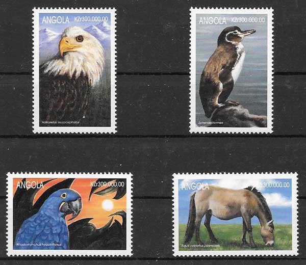 Filatelia fauna Angola 1999