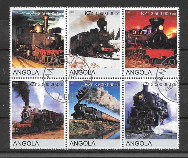 Sellos trenes antiguos de Angola
