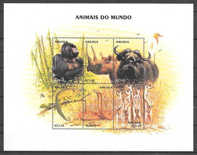 sellos colección fauna Angola 2000
