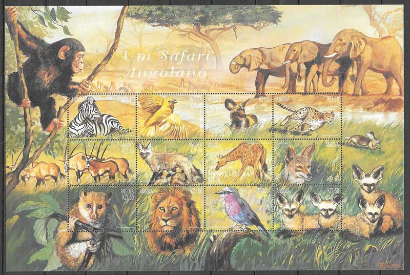 sellos fauna Angola 2000
