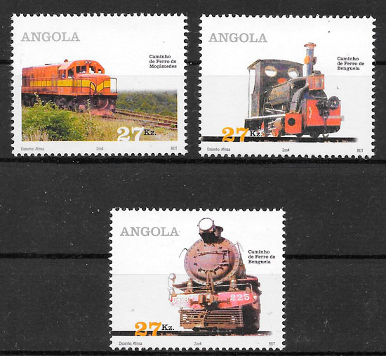 filatelia trenes Angola 2004