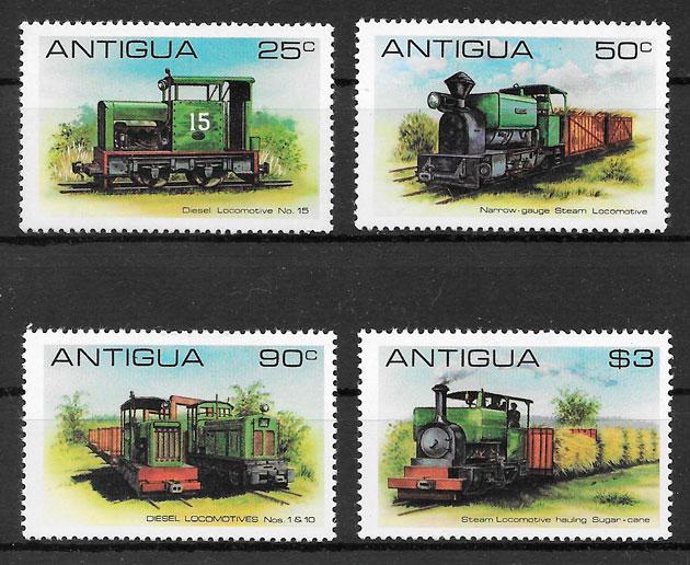 filatelia trenes Antigua 1981