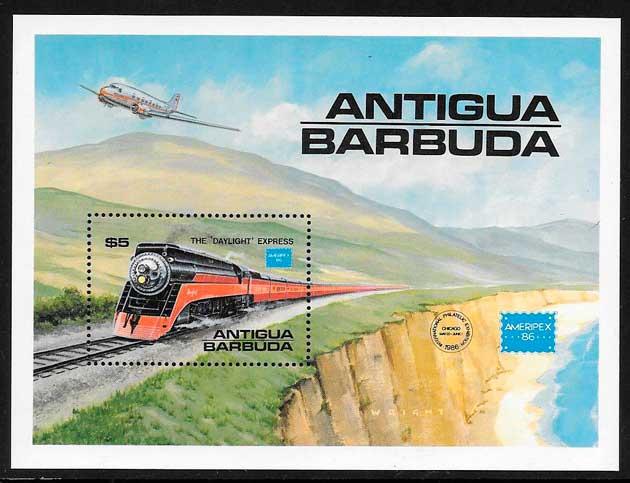 sellos trenes Antigua 1986