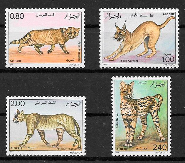 sellos gatos y perros de Argelia 1986