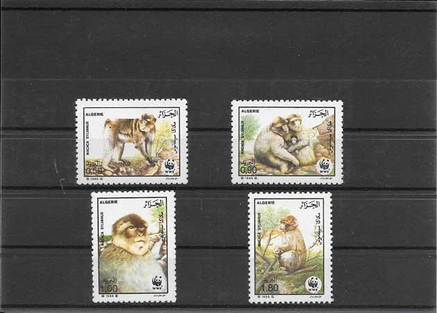 Estampillas serie de fauna - monos.