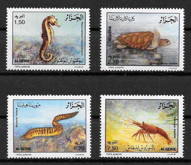 filatelia colección fauna Argelia 1992