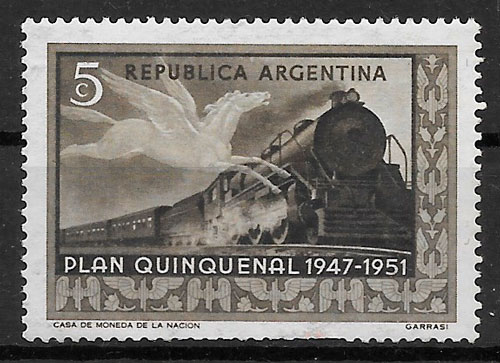 sellos trenes Argentina 1951