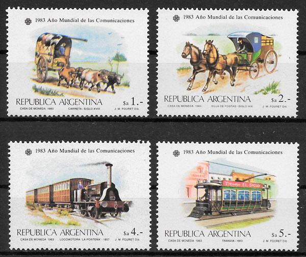 colección selos trenes Argentina 1983