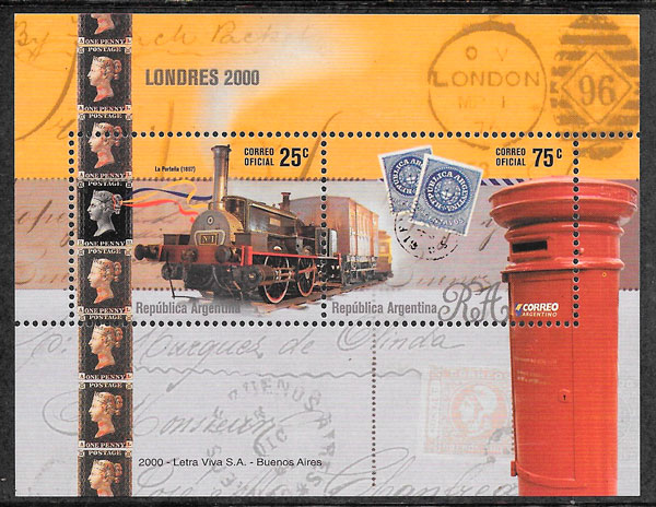 sellos trenes Argentina 2000