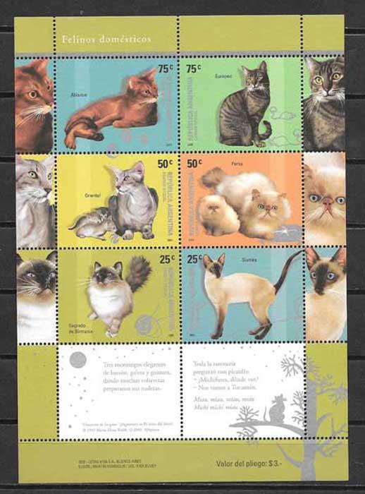 sellos gatos y perros Argentina 2005