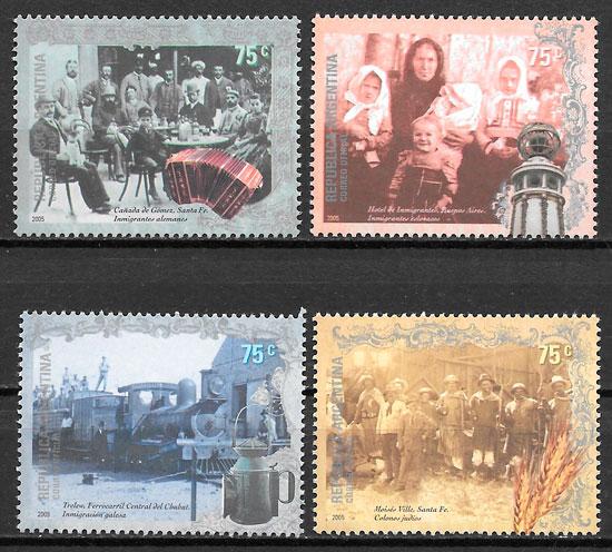 colección sellos trenes Argentina 2005