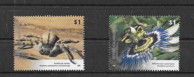 Estampillas serie de fauna y flora endémica de Argentina.