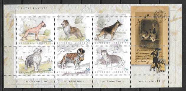 Sellos perros de raza Argentina 1999