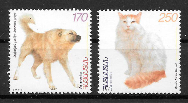 filatelias gatos y perros Armenia 1999