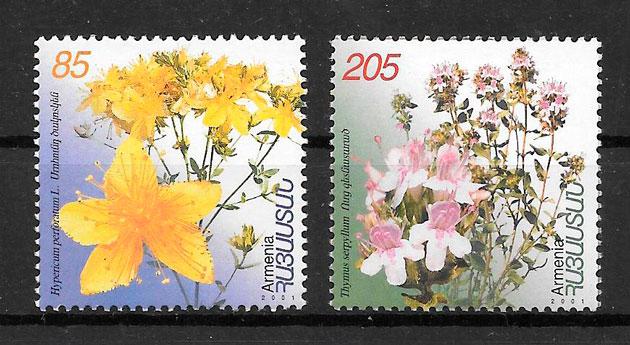 filatelia colección flora Armenia 2001