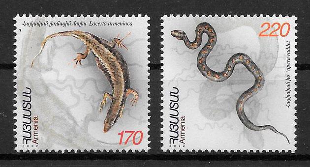 colección sellos fauna Armenia 2002