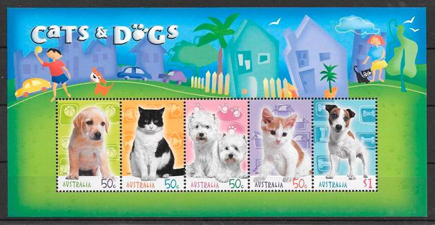 colección sellos gatos y perros Australia 2004