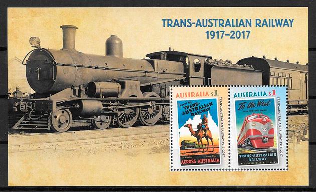 filatelia trenes Australia 2017
