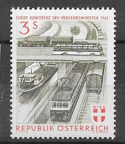 Estampillas transportes Austria 1961