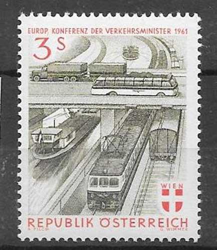Estampillas transportes Austria 1961